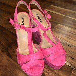 Pink wedges heels sz 10
